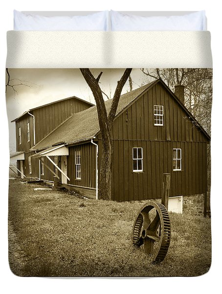 Williston Mill - Sepia Duvet Cover by Brian Wallace