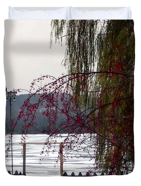 Willows And Berries In Winter Duvet Cover