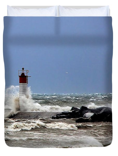 Duvet Cover featuring the photograph Wind Storm On The Lake by Davandra Cribbie