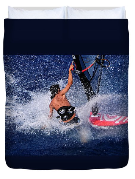 Wind Surfing Duvet Cover by Manolis Tsantakis