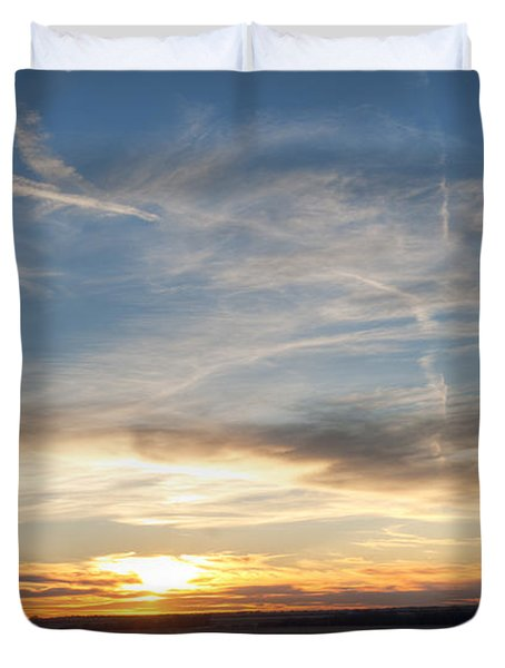 Windmill And Sunset Duvet Cover by Art Whitton