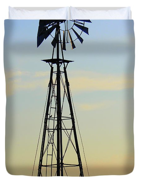 Duvet Cover featuring the photograph Windmill At Dusk by Kathy  White