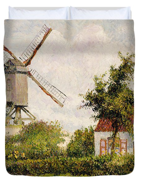 Windmill At Knokke Duvet Cover by Camille Pissarro