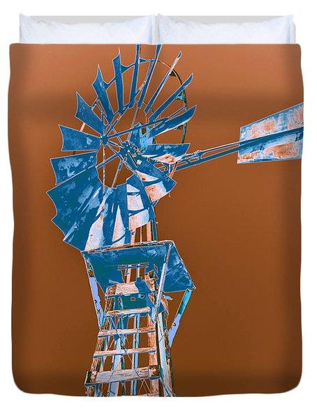 Windmill Blue Duvet Cover by Rebecca Margraf