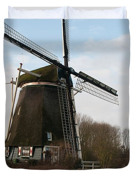 Duvet Cover featuring the digital art Windmill In Amsterdam by Carol Ailles