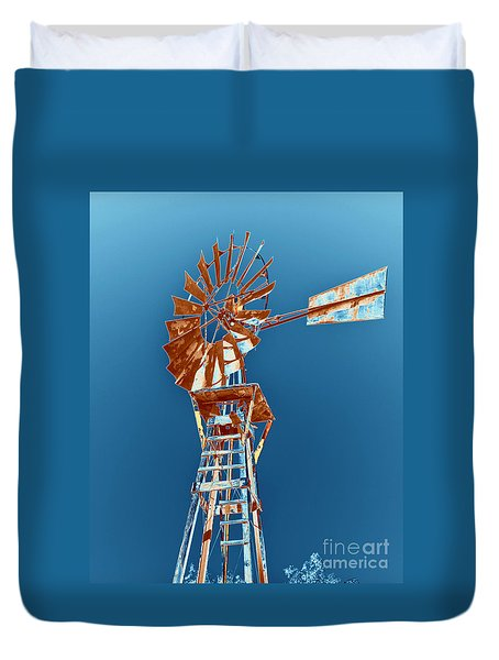 Windmill Rust Orange With Blue Sky Duvet Cover