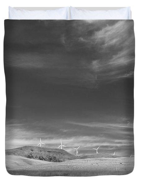 Duvet Cover featuring the photograph Windmills In The Distant Hills by Kathleen Grace