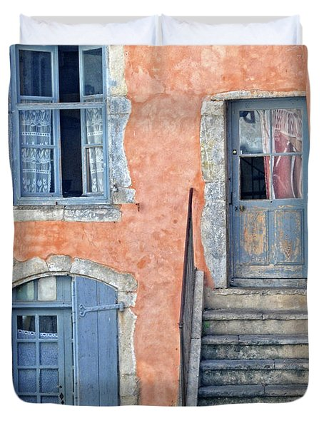 Duvet Cover featuring the photograph Window And Doors Provence France by Dave Mills