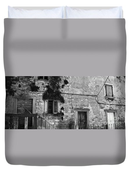 Duvet Cover featuring the photograph Crumbling In Croatia by Andy Prendy