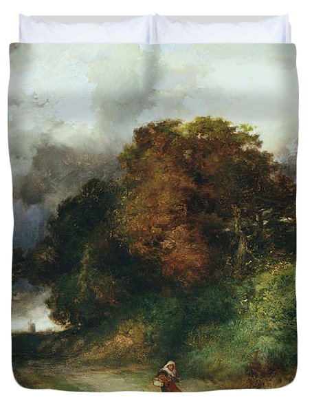 Windy Hilltop Duvet Cover by Thomas Moran