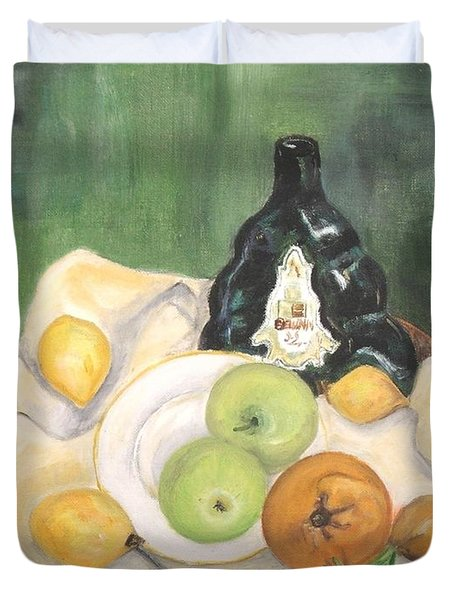 Wine And Fruit Duvet Cover by Caroline Street