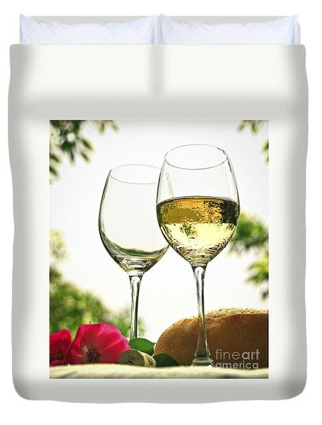 Wine Glasses Duvet Cover by Elena Elisseeva