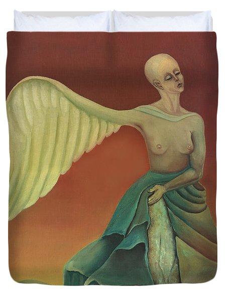 Winged Rock Fantasy In Green Orange Stones Sky Feathers Bold Woman Nude Breasts  Duvet Cover by Rachel Hershkovitz