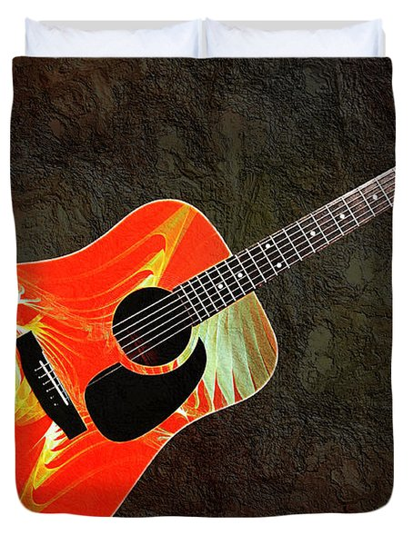 Wings Of Paradise Abstract Guitar Duvet Cover by Andee Design