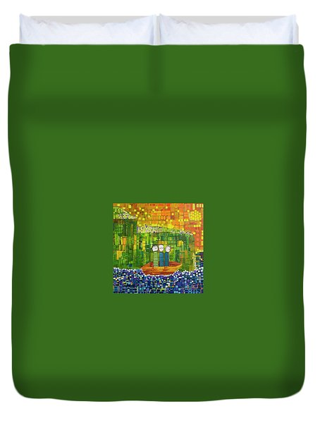 Duvet Cover featuring the painting Wink Blink And Nod by Donna Howard