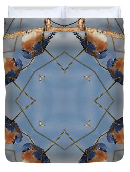 Winter Bluebird Kaleidoscope Duvet Cover