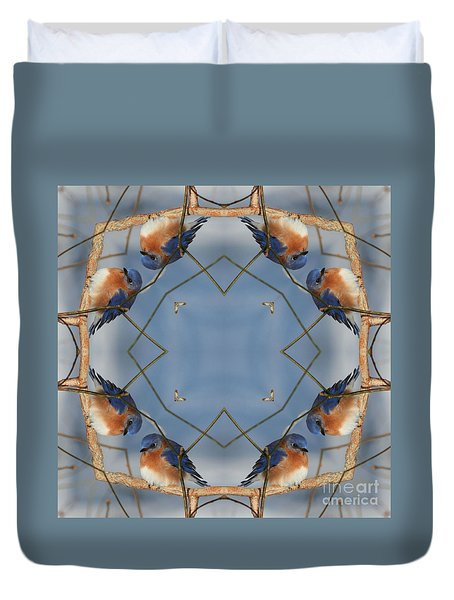Duvet Cover featuring the digital art Winter Bluebird Kaleidoscope by Smilin Eyes  Treasures