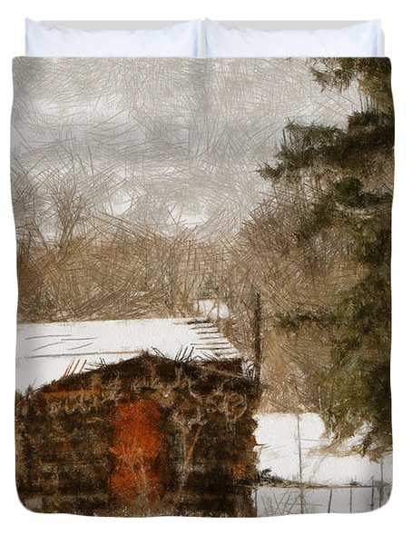 Winter Cabin 2 Duvet Cover by Ernie Echols