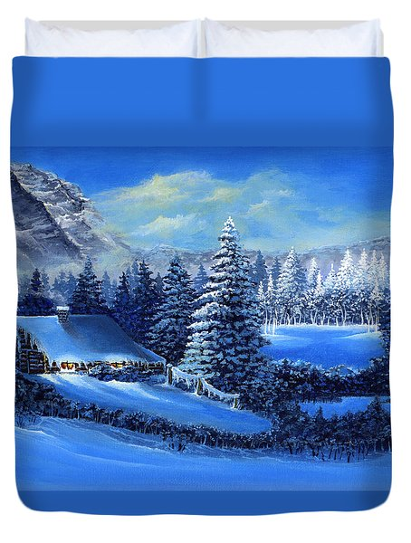 Winter Cabin Duvet Cover by Bonnie Cook