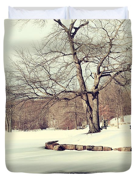 Winter Day In The Park Duvet Cover by Karol Livote