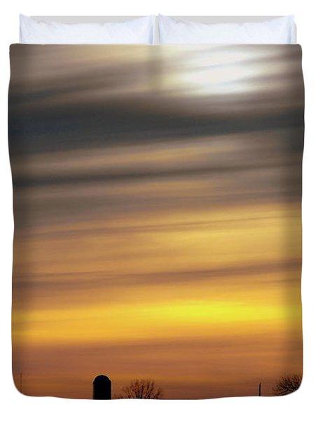 Winter Farm Sunset Duvet Cover