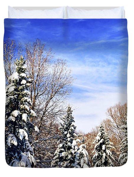 Winter Forest Under Snow Duvet Cover by Elena Elisseeva