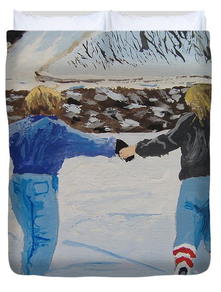 Duvet Cover featuring the painting Winter Fun by Norm Starks