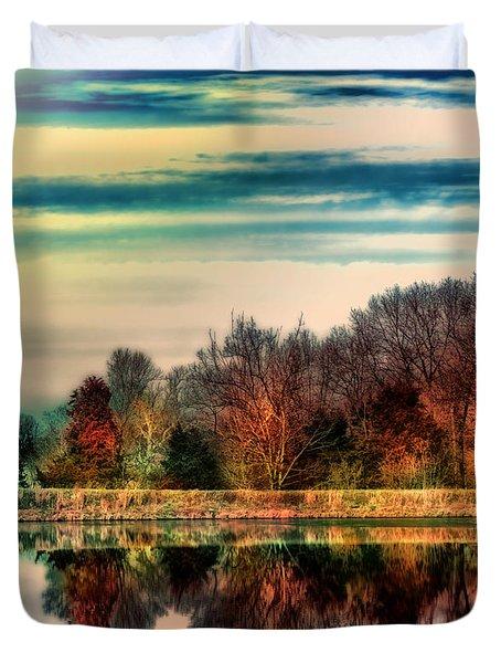 Winter Lake Fantasm Duvet Cover by Bill Tiepelman