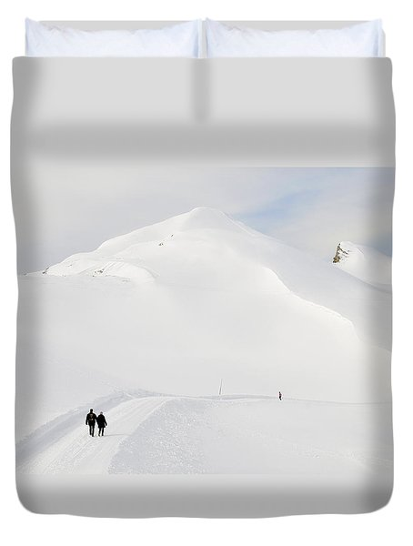 Winter Mountain Landscape With Lots Of Snow Duvet Cover by Matthias Hauser