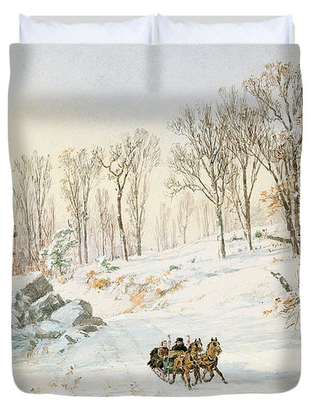 Winter On Ravensdale Road Duvet Cover by Jasper Francis Cropsey