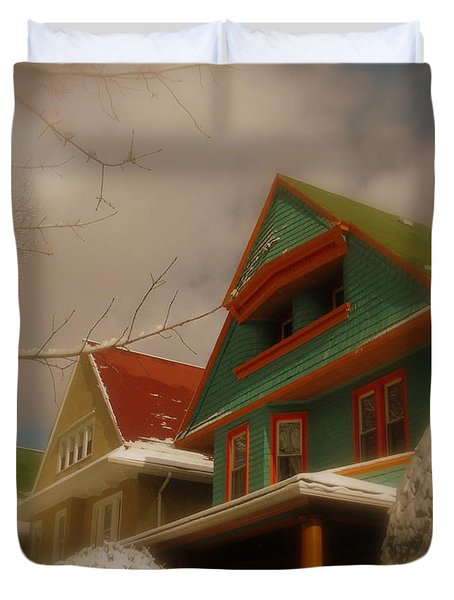Winter On Rugby Road Duvet Cover by Mark Gilman