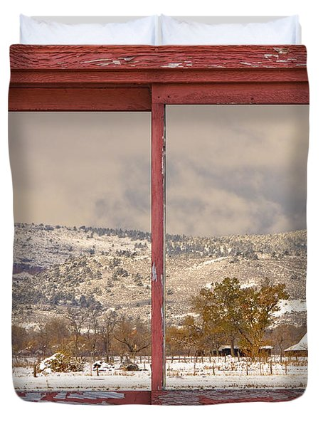 Winter Rocky Mountain Foothills Red Barn Picture Window Frame Ph Duvet Cover