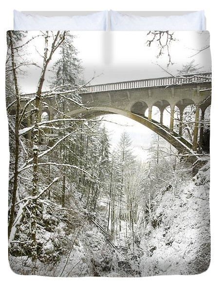 Winter, Shepperds Dell, Columbia River Duvet Cover by Craig Tuttle
