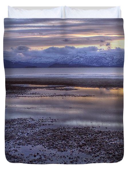 Duvet Cover featuring the photograph Winter Sunset by Michele Cornelius