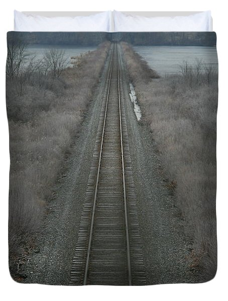 Duvet Cover featuring the photograph Winter Tracks  by Neal Eslinger
