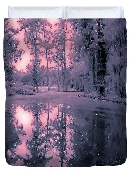 Winterland In The Swamp Duvet Cover by DigiArt Diaries by Vicky B Fuller