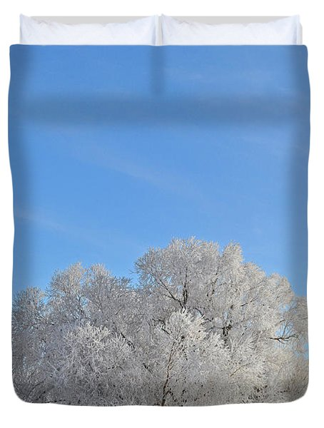 Winter's Coat In Montana's Gallatin Valley Duvet Cover