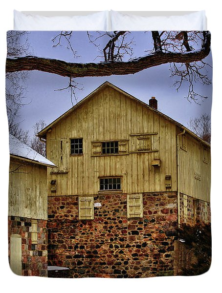 Duvet Cover featuring the photograph Winters Mill by Rachel Cohen