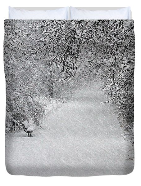 Duvet Cover featuring the photograph Winter's Trail by Elizabeth Winter