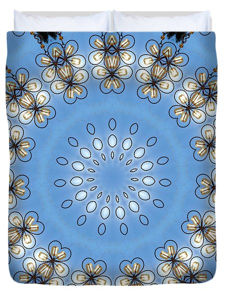 Wire Flowers And Butterflies Duvet Cover by Kristie  Bonnewell