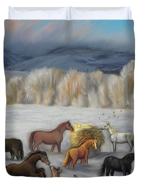 Wishing You Peace  Joy  Abundance And Love Throughout The New Year Duvet Cover by Dawn Senior-Trask