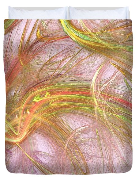 Duvet Cover featuring the digital art Wispy Willow by Kim Sy Ok