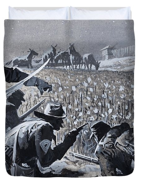 With His Men Concealed Fetterman Waited For The Marauding Indians Duvet Cover by Severino Baraldi