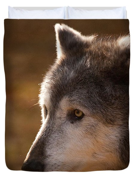 Wolf Outlined By The Sun Duvet Cover by Karol Livote