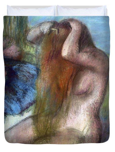 Woman Doing Her Hair Duvet Cover