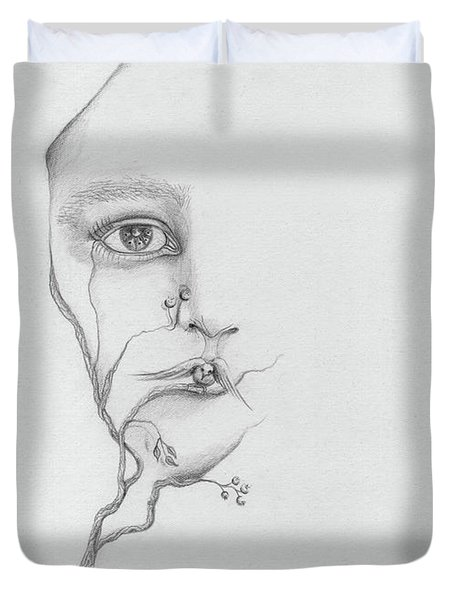 Woman Face Growing Out Of A Tree Branch Black And White Surrealistic Fantasy  Duvet Cover