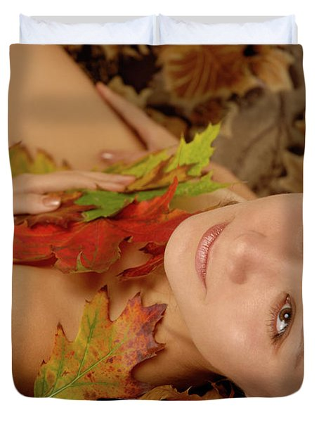Woman In Fallen Leaves Duvet Cover by Oleksiy Maksymenko