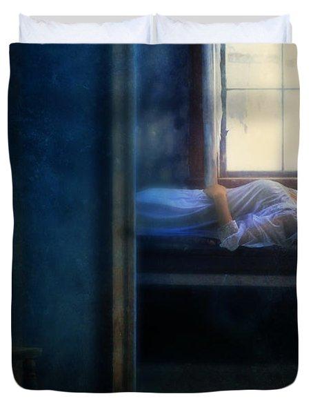 Woman In Nightgown In Bed By Window Duvet Cover by Jill Battaglia