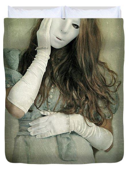 Woman In White Mask Wearing 1930s Dress Duvet Cover by Jill Battaglia