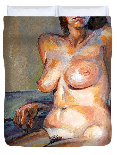 Duvet Cover featuring the painting Woman Nude by Stan Esson